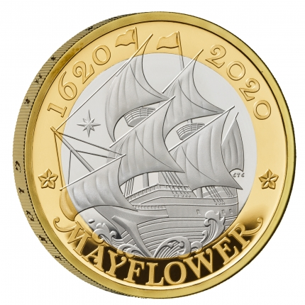 Mayflower 400 - 2020 UK £2 Silver Proof Coin reverse tone with edge