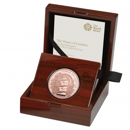 The Tower of London Collection - The Royal Menagerie 2020 UK £5 Gold Proof Coin in case left