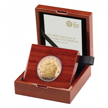 The 400th Anniversary of the voyage of the Mayflower - 2020 UK £2 Gold Proof Coin in case left