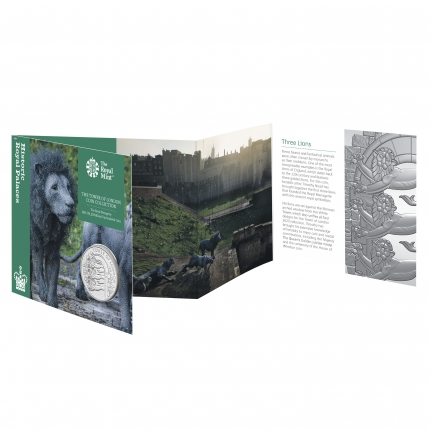 The Tower of London Collection - The Royal Menagerie 2020 UK £5 Brilliant Uncirculated Coin in packaging front angled