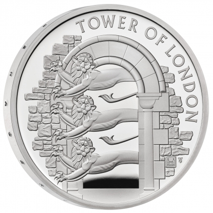 The Tower of London Collection - The Royal Menagerie 2020 UK £5 Silver Proof Coin reverse with edge