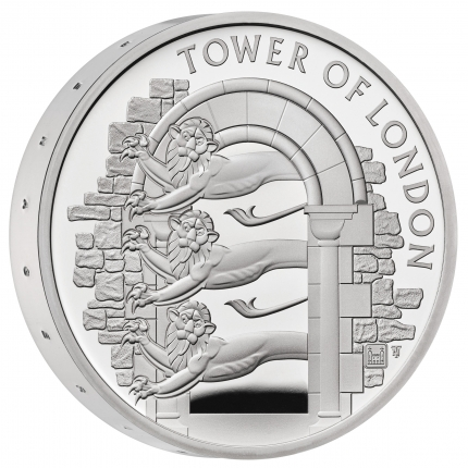 The Tower of London Collection - The Royal Menagerie 2020 UK £5 Silver Proof Piedfort Coin reverse with edge