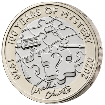 Agatha Christie 100 Years of Mystery 2020 £2 United Kingdom Brilliant Uncirculated Coin reverse edge left