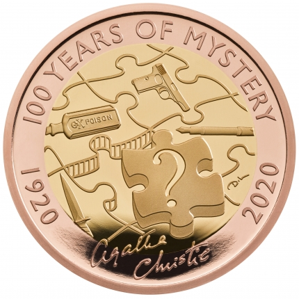 Agatha Christie 100 Years of Mystery 2020 £2 United Kingdom Gold Proof Coin reverse tone