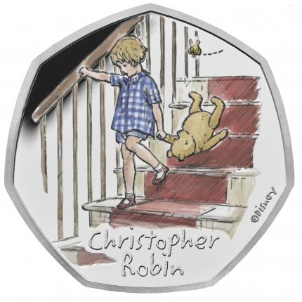 Christopher Robin 2020 UK 50p Silver Proof Coin reverse toned