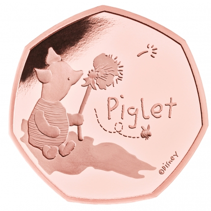 Piglet 2020 UK 50p Gold Proof Coin reverse