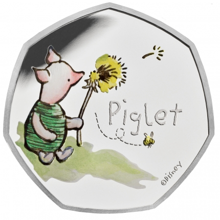 Piglet 2020 UK 50p Silver Proof Coin reverse toned