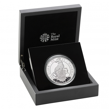 The Queen's Beasts The White Greyhound of Richmond 2021 UK Five-Ounce Silver Proof Coin obverse in case right