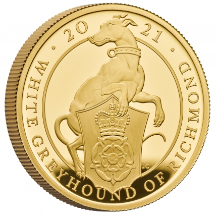 The Queen's Beasts The White Greyhound of Richmond 2021 UK One Ounce Gold Proof Coin reverse with edge