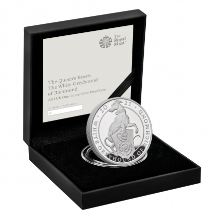 The Queen's Beasts The White Greyhound of Richmond 2021 UK One Ounce Silver Proof Coin in case right  - UK21QWSP