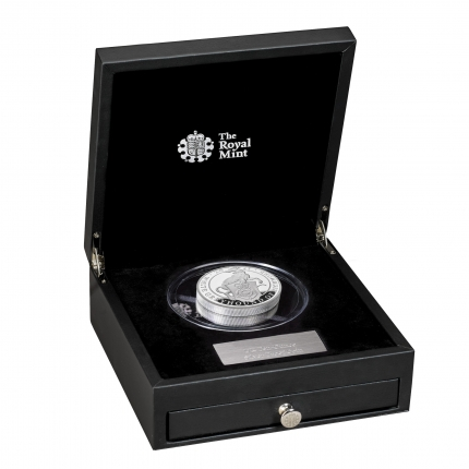The Queen's Beasts The White Greyhound of Richmond 2021 UK Ten-Ounce Silver Proof Coin in case right - UK21QWST