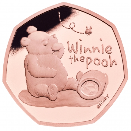 Winnie the Pooh 2020 UK 50p Gold Proof Coin reverse tone