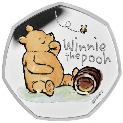 Winnie the Pooh 2020 UK 50p Silver Proof Coin reverse toned
