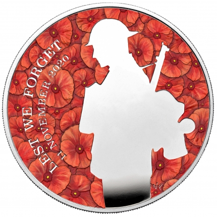 The Remembrance Day 2020 UK £5 Silver Proof Piedfort Coin reverse - UK20RDPF