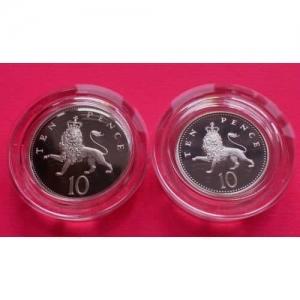 1992-ROYAL-MINT-SILVER-2-COIN-SET-10P-TEN-PENCE-PROOF-COIN-BOX-COA-231020589742