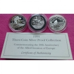 1994-ROYAL-MINT-SILVER-50TH-ANN-OF-THE-ALLIED-INVASION-OF-EUROPE-3-COIN-SET-331193319293