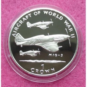 1995-ISLE-OF-MAN-AIRCRAFT-OF-WW-II-MIG-2-ONE-CROWN-SILVER-PROOF-COIN-331219614776