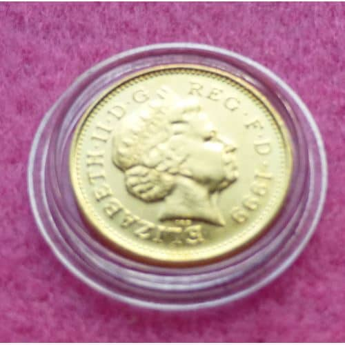 1999-FINE-GOLD-PLATED-AND-COLOURISED-ONE-PENNY-COIN