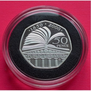2000-ROYAL-MINT-SILVER-LIBRARIES-50P-FIFTY-PENCE-PROOF-COIN-BOX-COA-231020577204