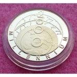 2000-TURKS-AND-CAICOS-MILLENNIUM-25-CROWNS-SILVER-GOLD-PROOF-COIN-231251085461