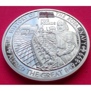 2003-ALDERNEY-THE-ROYAL-NAVY-ALFRED-THE-GREAT-5-SILVER-PROOF-COIN-COA-331162069725