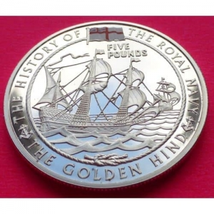 2003-GUERNSEY-ROYAL-NAVY-GOLDEN-HIND-5-SILVER-PROOF-COIN-COA-231189200290
