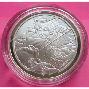 2003-NEW-ZEALAND-SILVER-LOTR-THE-TAMING-OF-SMEAGOL-1-PROOF-COIN-COA-330948141260