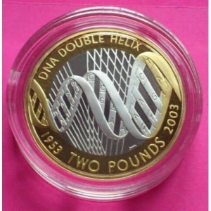 2003-ROYAL-MINT-SILVER-GOLD-DOUBLE-HELIX-DNA-2-TWO-POUND-PROOF-COIN-BOX-COA-330886554049