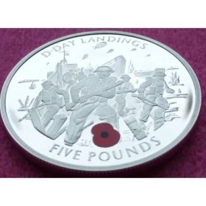 2004-GIBRALTAR-50TH-ANN-D-DAY-LANDINGS-FIVE-POUND-5-SILVER-PROOF-COIN-AND-COA-331194154545