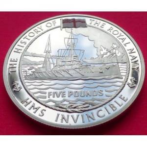 2004-GUERNSEY-THE-ROYAL-NAVY-HMS-INVINCIBLE-5-SILVER-PROOF-COIN-COA-231189210862