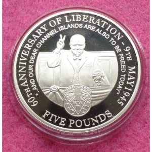 2005-ALDERNEY-END-OF-WWII-60TH-ANNIVERSARY-FIVE-POUND-SILVER-PROOF-COIN-COA-331199088095