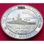 2005-ALDERNEY-THE-ROYAL-NAVY-HMS-WARSPITE-5-SILVER-PROOF-COIN-COA-231189233448