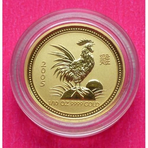 2005 Australia Lunar Year Of The Rooster Gold 1 10th 15 Fifteen Dollar Coin The Coin Connection