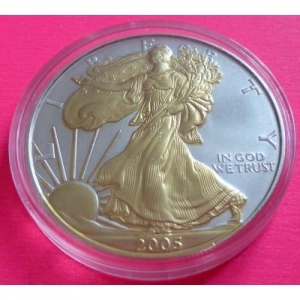 2005-EAGLE-1-ONE-DOLLAR-SILVER-GOLD-COIN-WITH-COA-BEAUTIFUL-331160503904