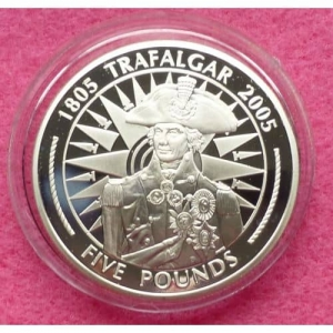2005-GIBRALTAR-BATTLE-OF-TRAFALGAR-LORD-NELSON-5-SILVER-PROOF-COIN-COA-231223872442