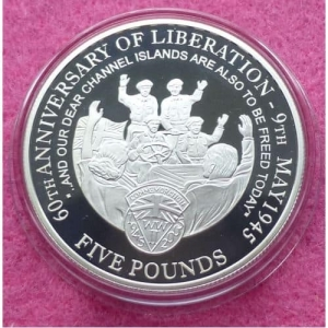 2005-GUERNSEY-END-OF-WWII-60TH-ANNIVERSARY-FIVE-POUND-SILVER-PROOF-COIN-COA-331199097965