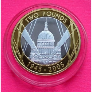 2005-ROAL-MINT-WWII-60TH-ANN-SILVER-GOLD-2-TWO-POUND-PROOF-COIN-BOX-COA-330950195251