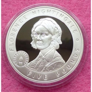 2006-JERSEY-GREAT-BRITONS-FLORENCE-NIGHTINGALE-5-SILVER-PROOF-COIN-COA-231223966785