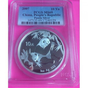2007-CHINA-SILVER-PANDA-10-YUAN-PCGS-MS69-COIN-330891943484