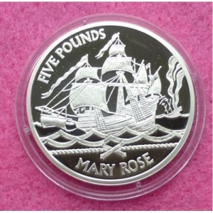 2009-GUERNSEY-FIGHTING-SHIPS-MARY-ROSE-5-FIVE-POUND-SILVER-PROOF-COIN-231247260876