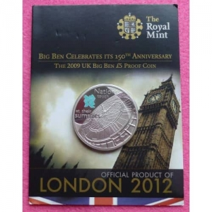 2009-ROYAL-MINT-QUEEN-BIG-BEN-PROOF-5-FIVE-POUND-CROWN-COIN-331200825379