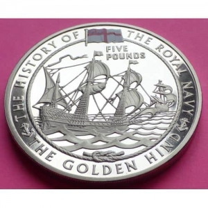 2009-ROYAL-MINT-ROYAL-NAVY-THE-GOLDEN-HIND-5-FIVE-POUND-PROOF-CROWN-COIN-331132455704