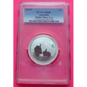 2011-AUSTRALIA-PERTH-MINT-LUNAR-RABBIT-TWO-DOLLAR-PCGS-MS68-2oz-SILVER-COIN-231196527926