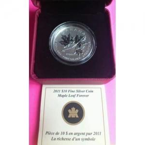 2011-CANADA-MAPLE-LEAF-FOREVER-10-TEN-DOLLAR-SILVER-12OZ-COIN-BOX-COA-NEW-330875908696