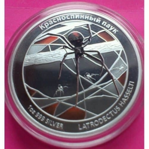 2011-TUVALU-RED-BACK-SPIDER-SILVER-PROOF-RUSSIAN-VERSION-COIN-RARE-COIN-330894554973