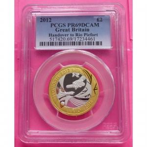 2012-ROYAL-MINT-SILVER-GOLD-PIEDFORT-HANDOVER-TO-RIO-2-TWO-POUND-PCGS-PR69-330945016777