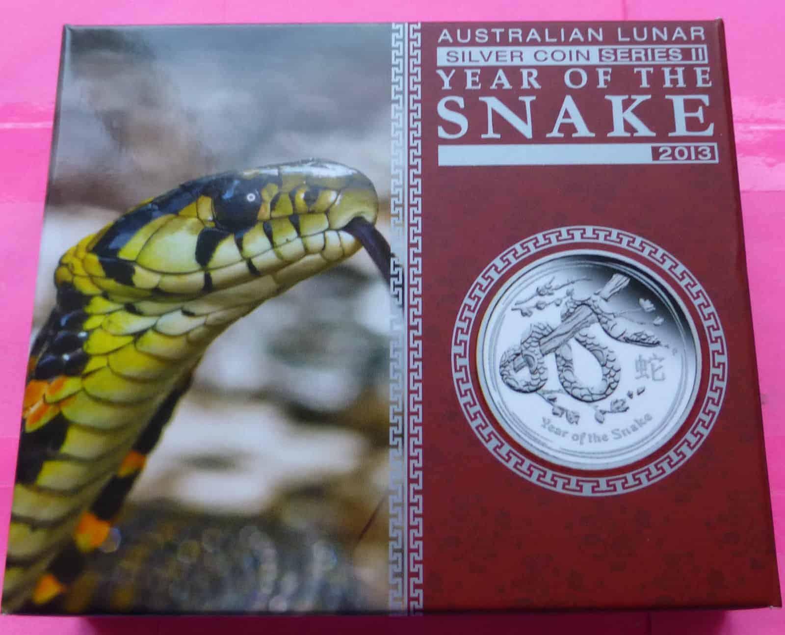 2013 Australia Lunar Snake 1 One Dollar Silver Proof 1oz