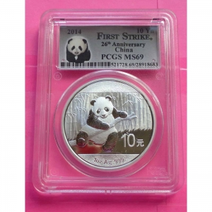 2014-CHINA-FIRST-STRIKE-PANDA-26TH-ANN-10-YUAN-1oz-SILVER-PCGS-MS69-COIN-331070096512