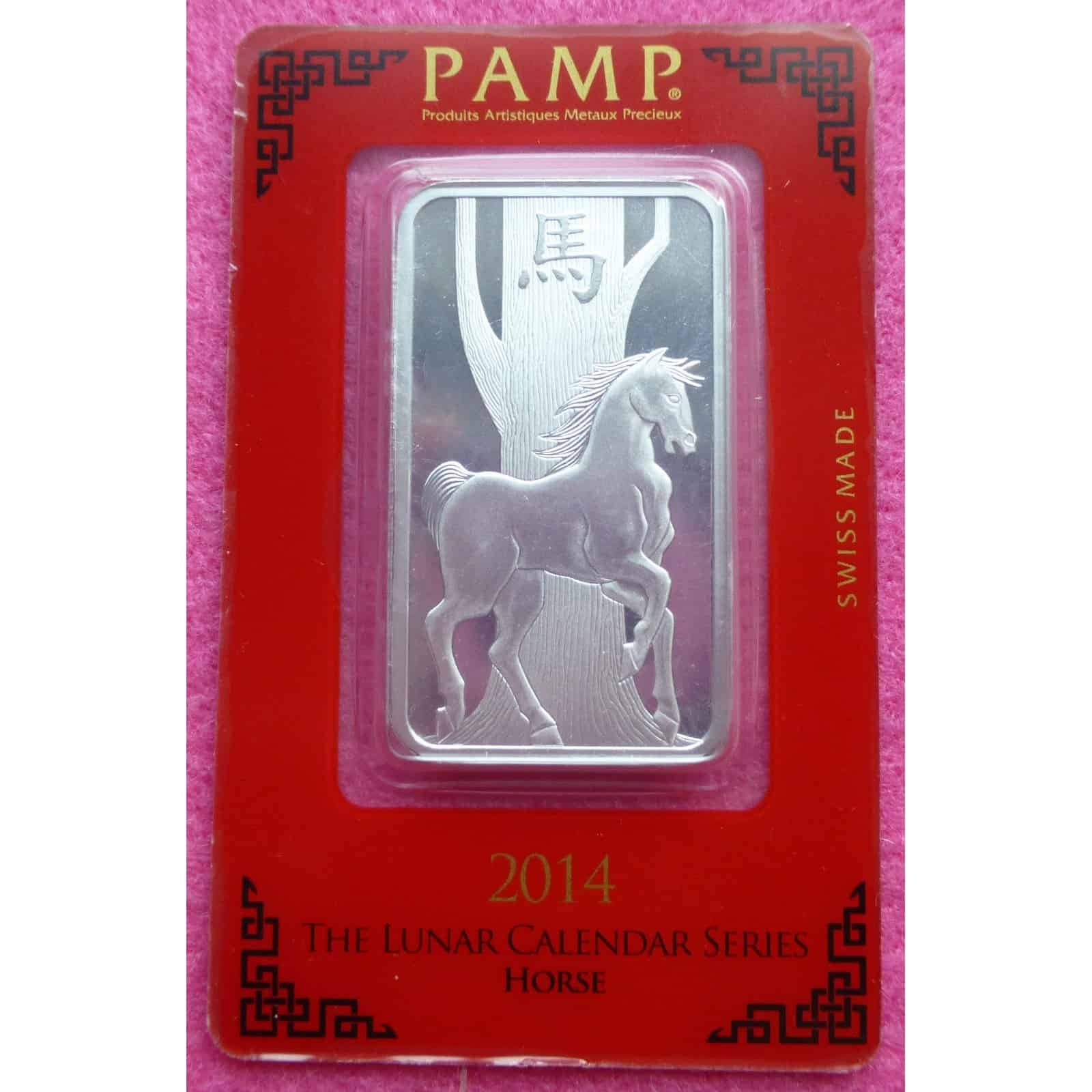 2014 Pamp Silver Lunar Year Of The Horse Bullion Bar 999